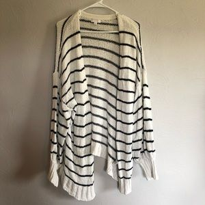 Black & White Striped Cardigan with Bubble Sleeves